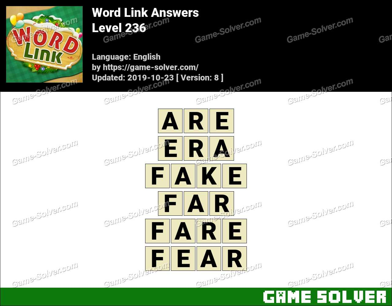 Word Link Level 236 Answers