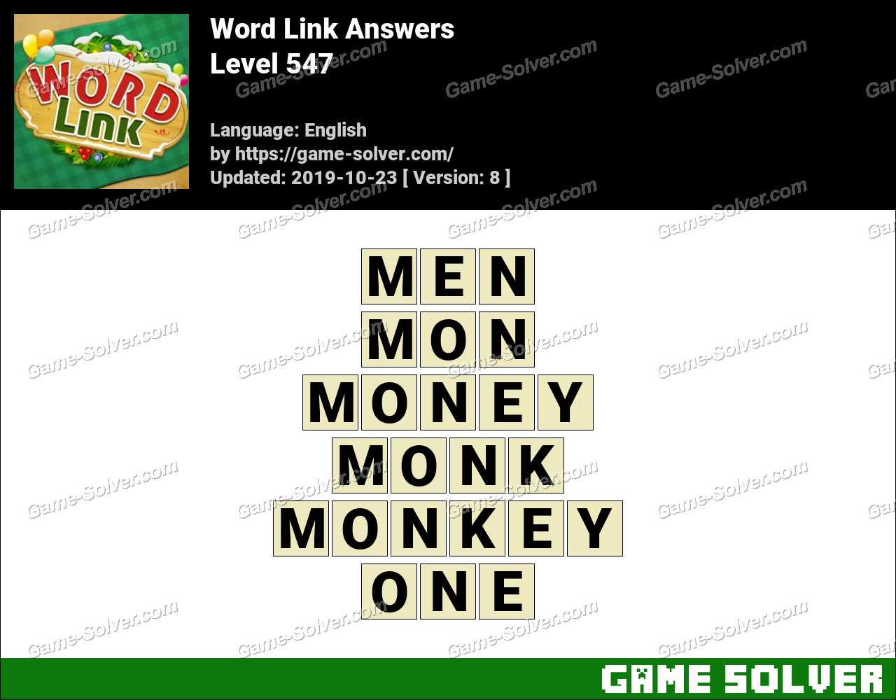 Word Link Level 547 Answers