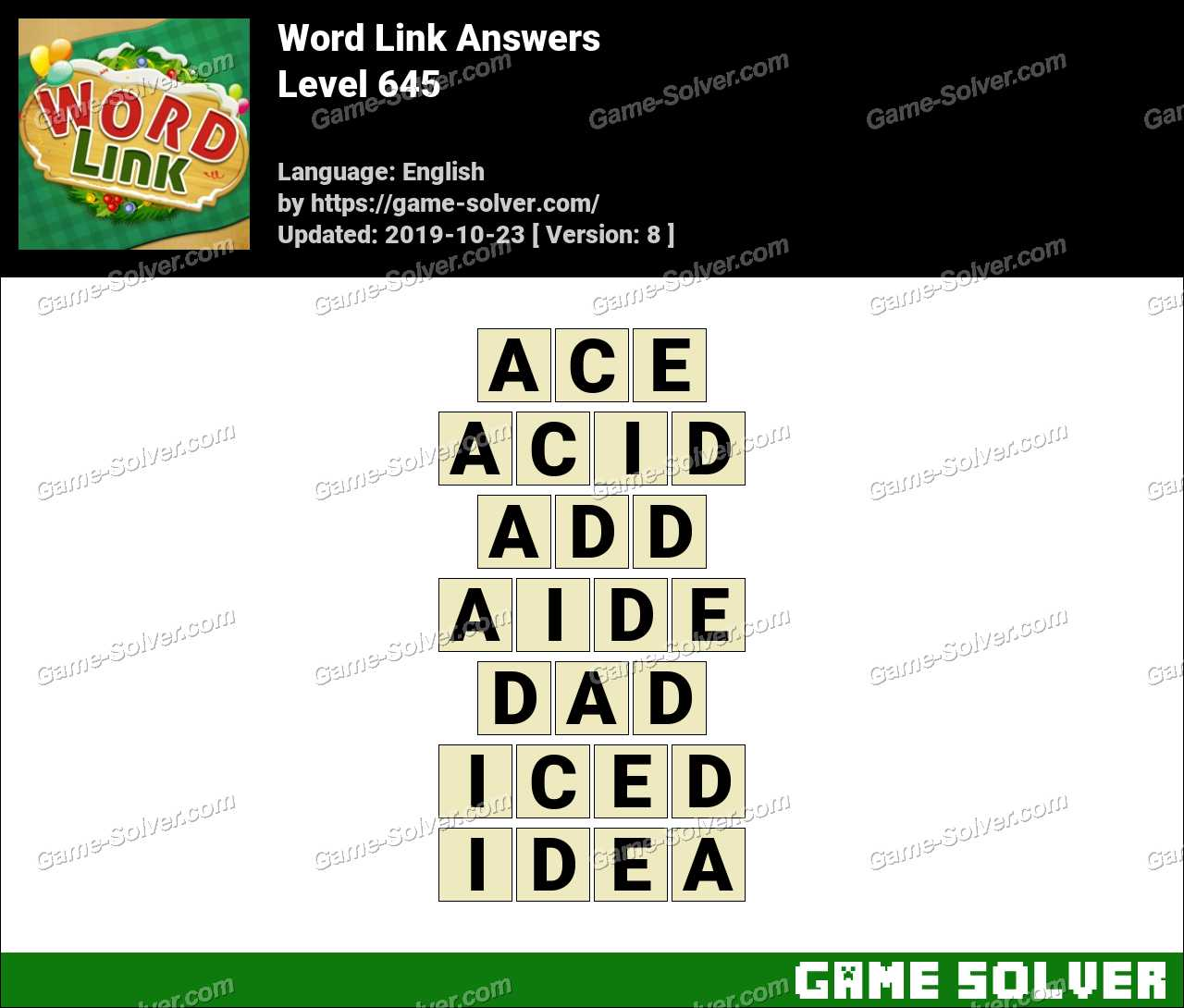 Word Link Level 645 Answers
