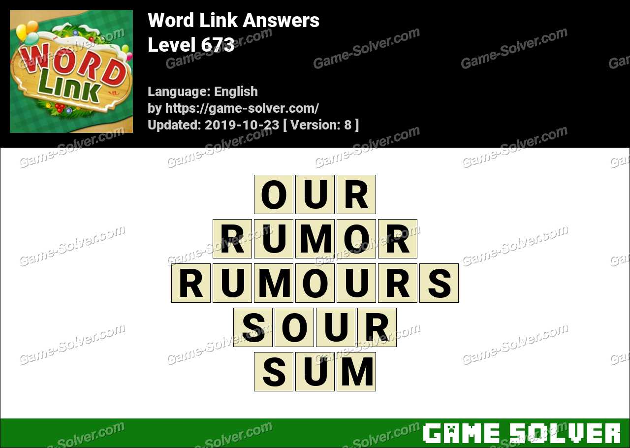 Word Link Level 673 Answers