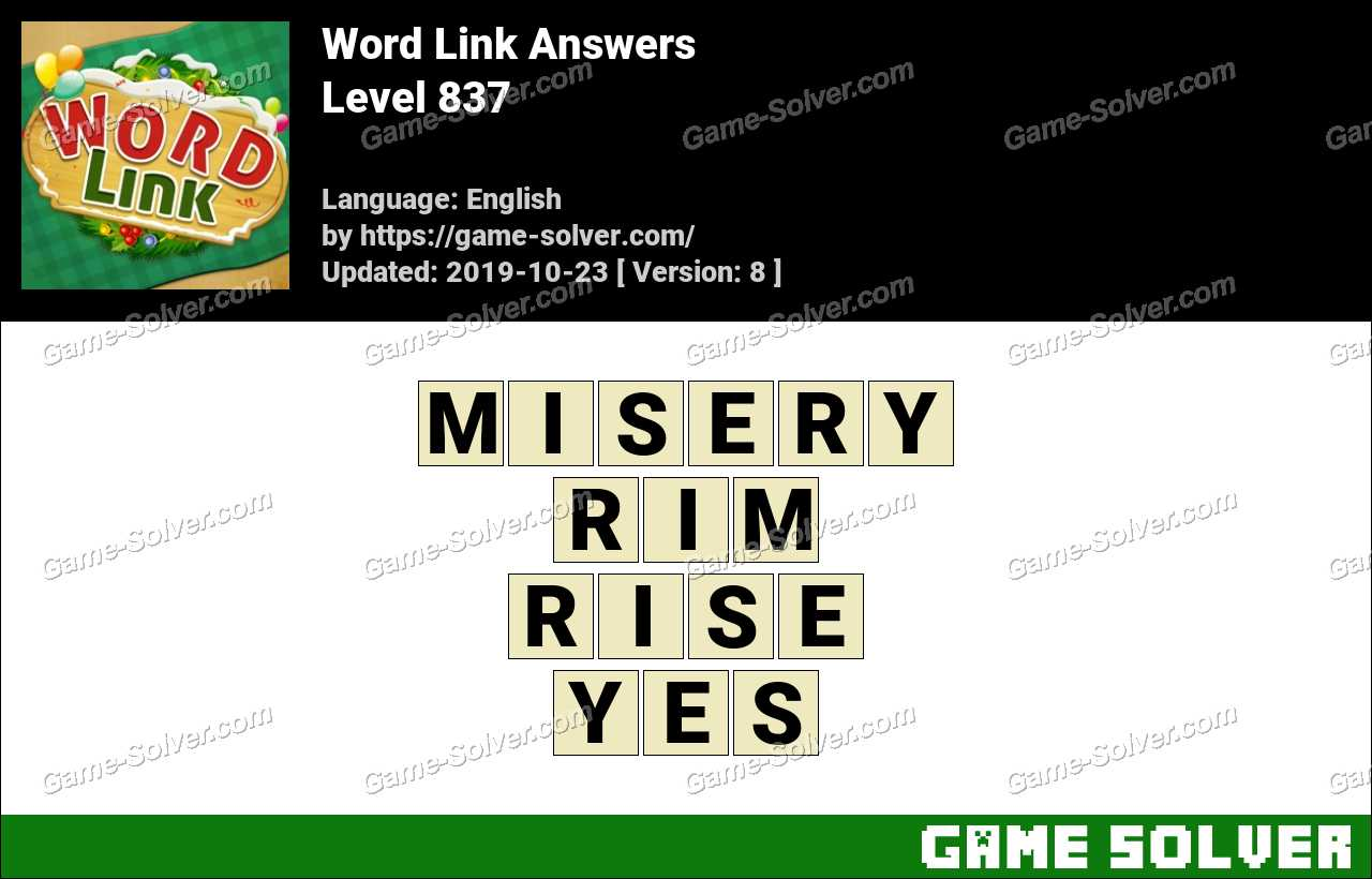 Word Link Level 837 Answers