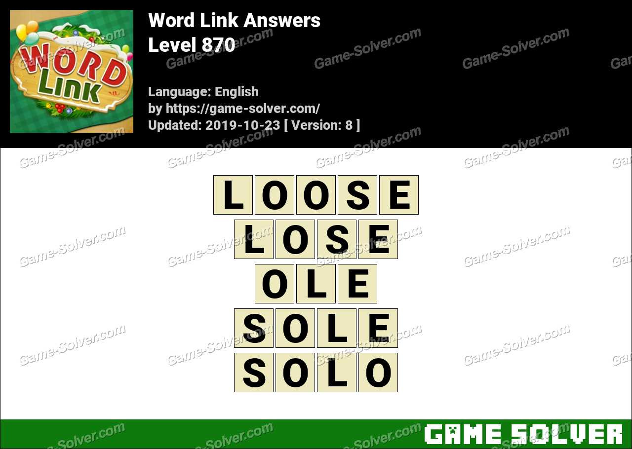 Word Link Level 870 Answers