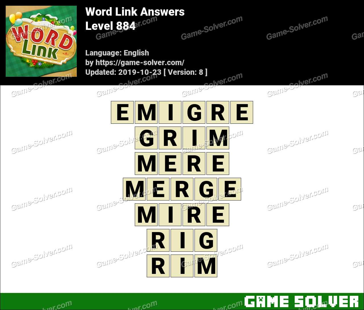 Word Link Level 884 Answers