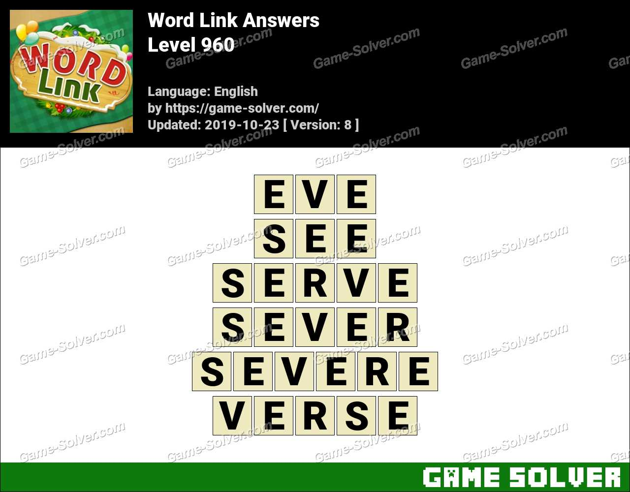 Word Link Level 960 Answers