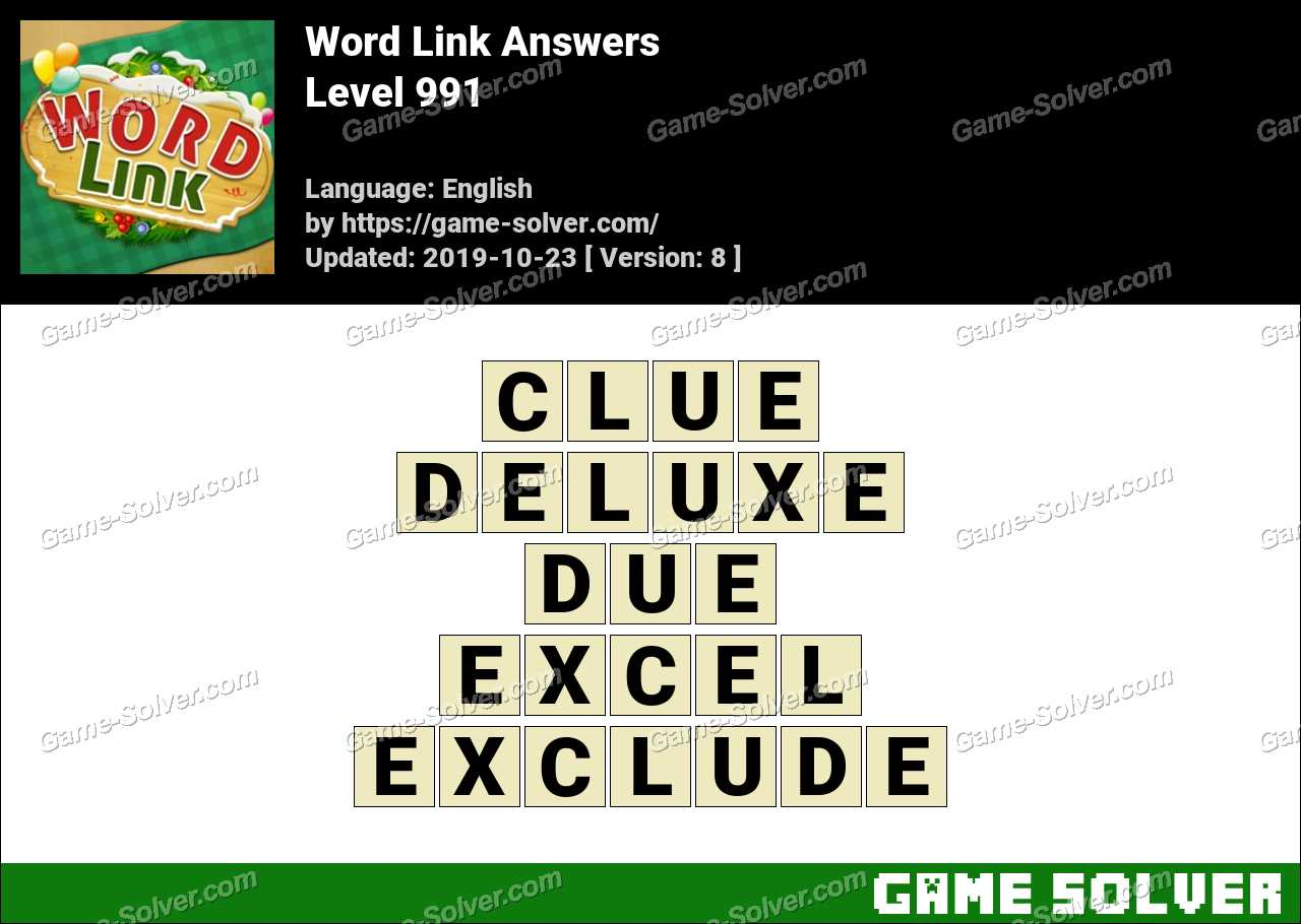 Word Link Level 991 Answers