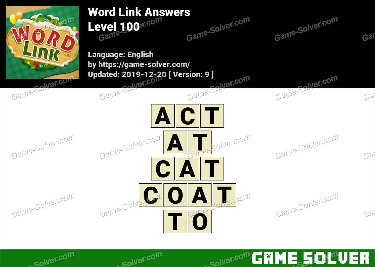 Word Link Level 100 Answers