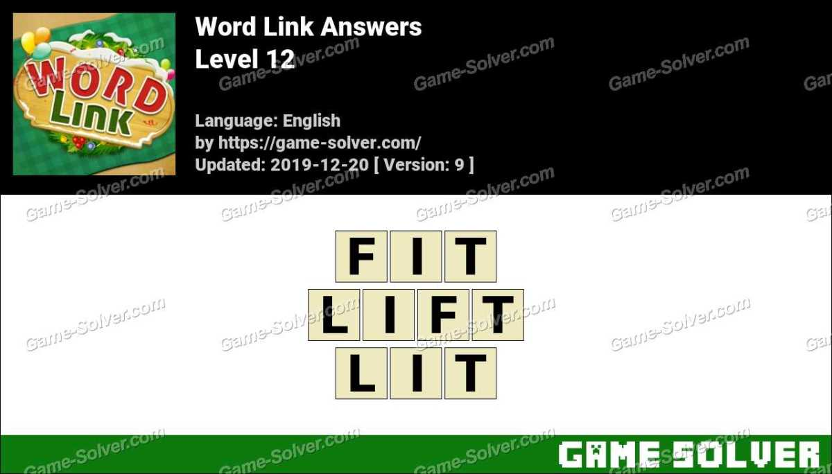 Word Link Level 12 Answers