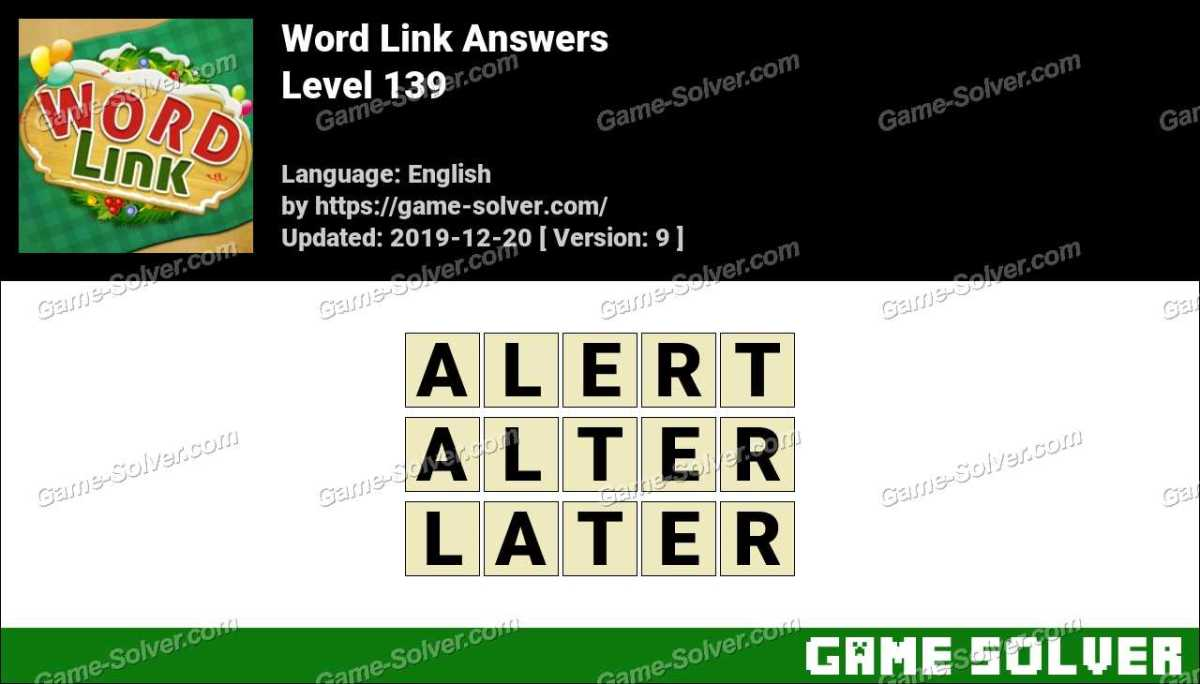 Word Link Level 139 Answers