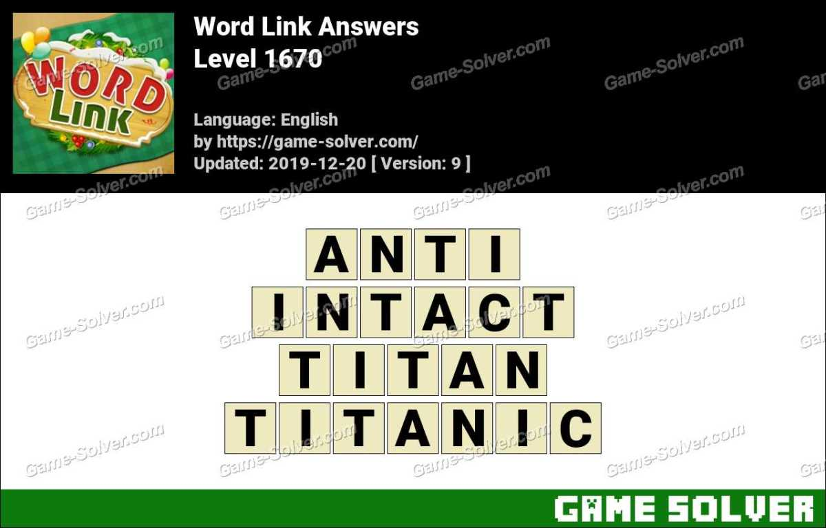 Word Link Level 1670 Answers
