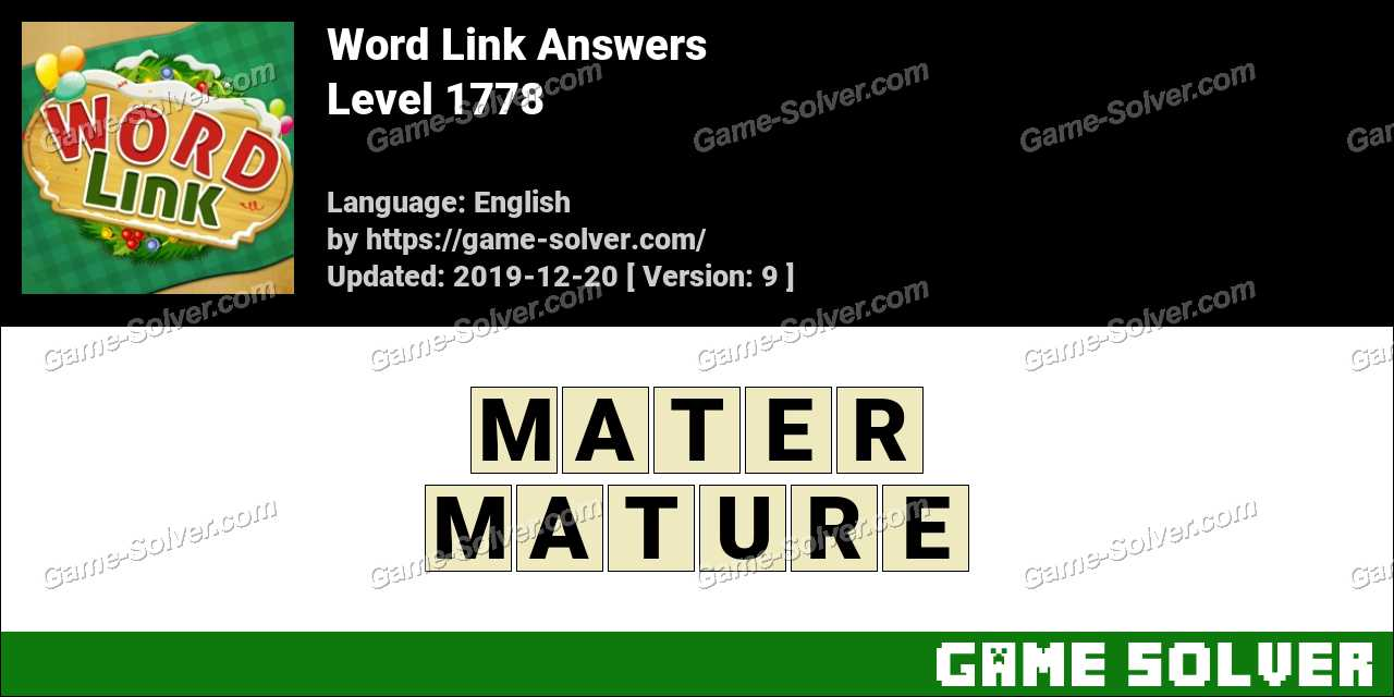 Word Link Level 1778 Answers