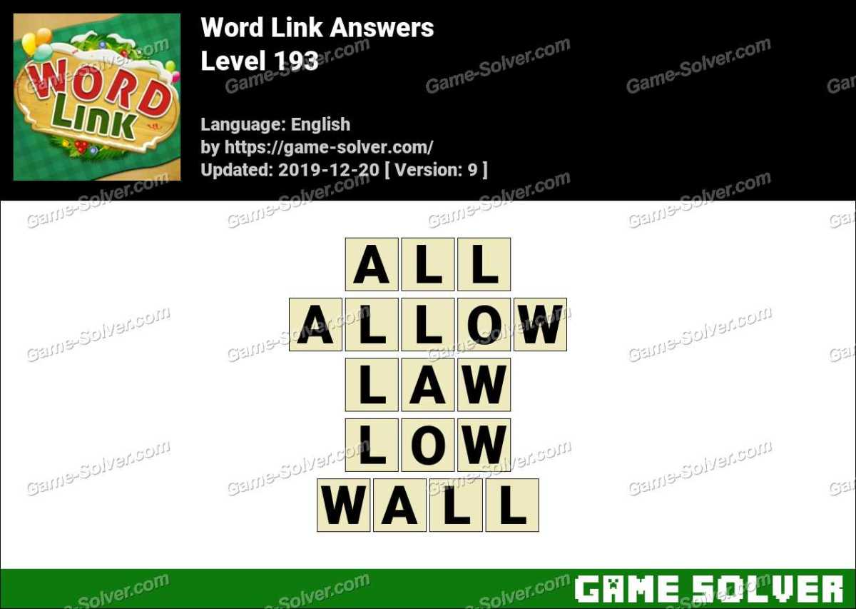 Word Link Level 193 Answers