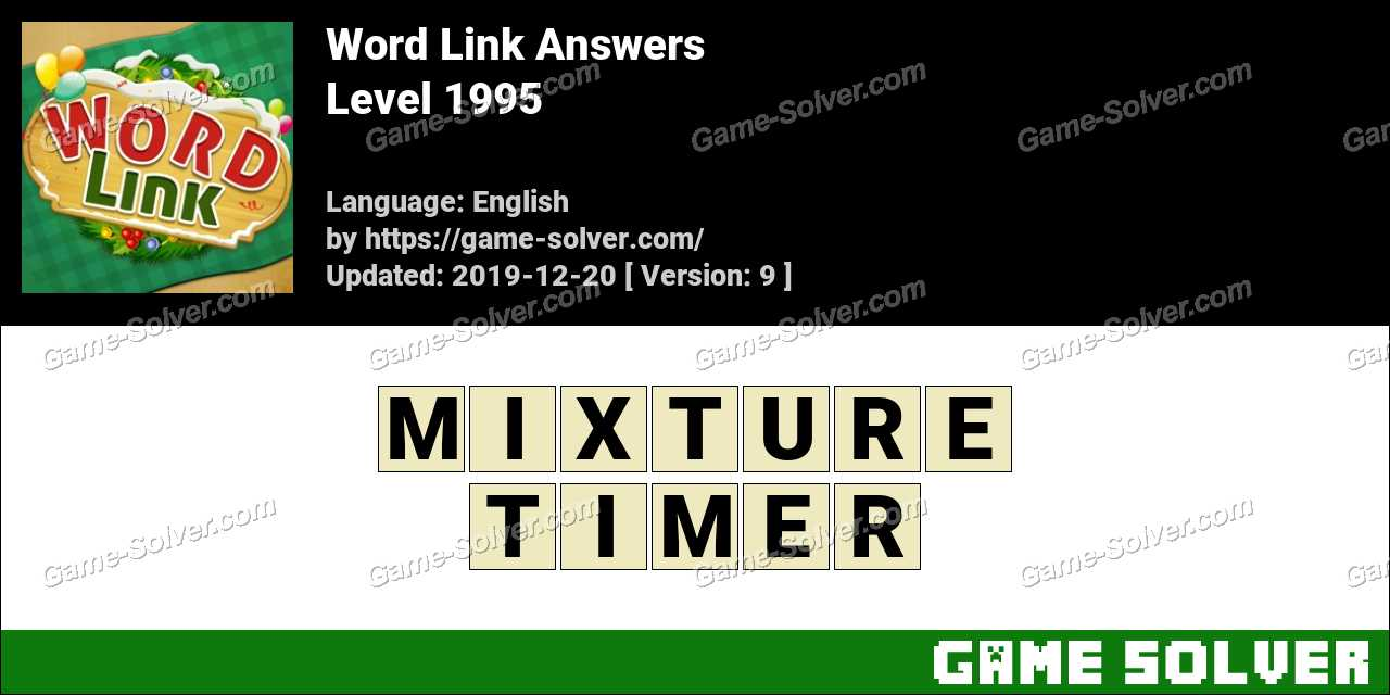Word Link Level 1995 Answers