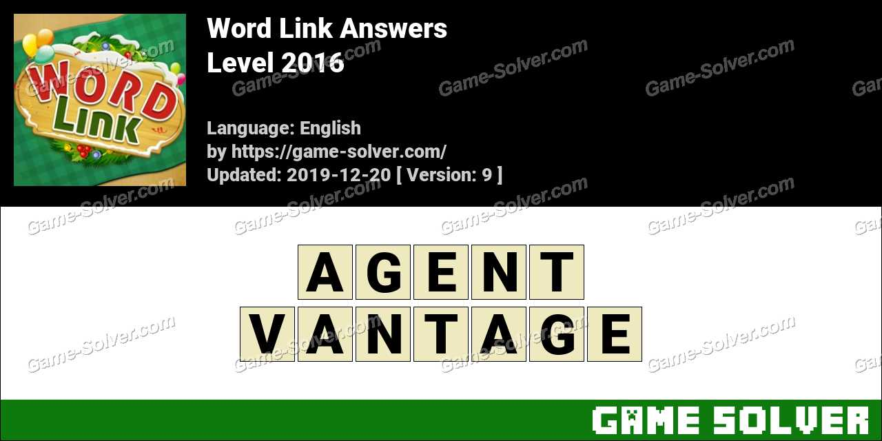 Word Link Level 2016 Answers