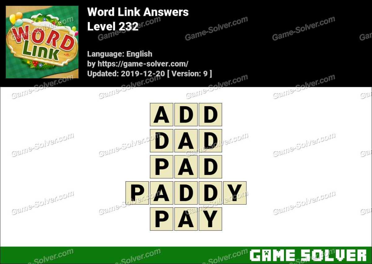 Word Link Level 232 Answers