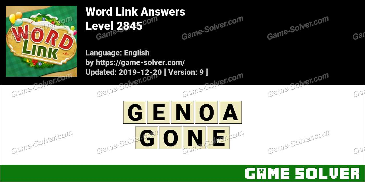 Word Link Level 2845 Answers