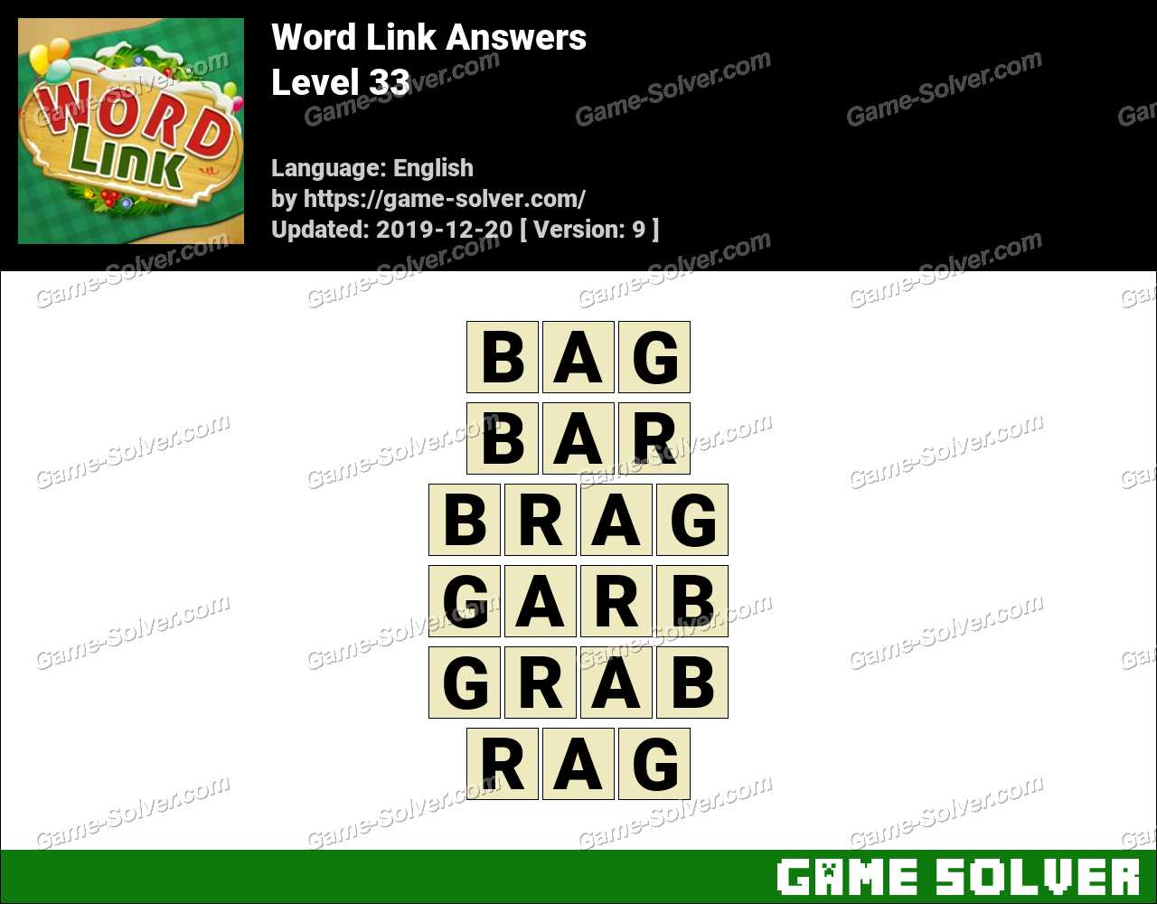 Word Link Level 33 Answers
