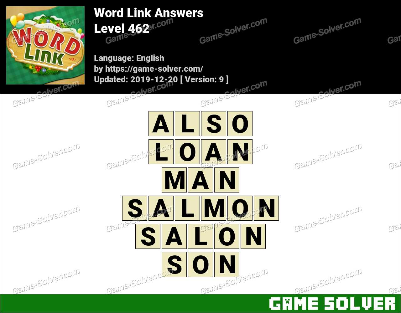 Word Link Level 462 Answers