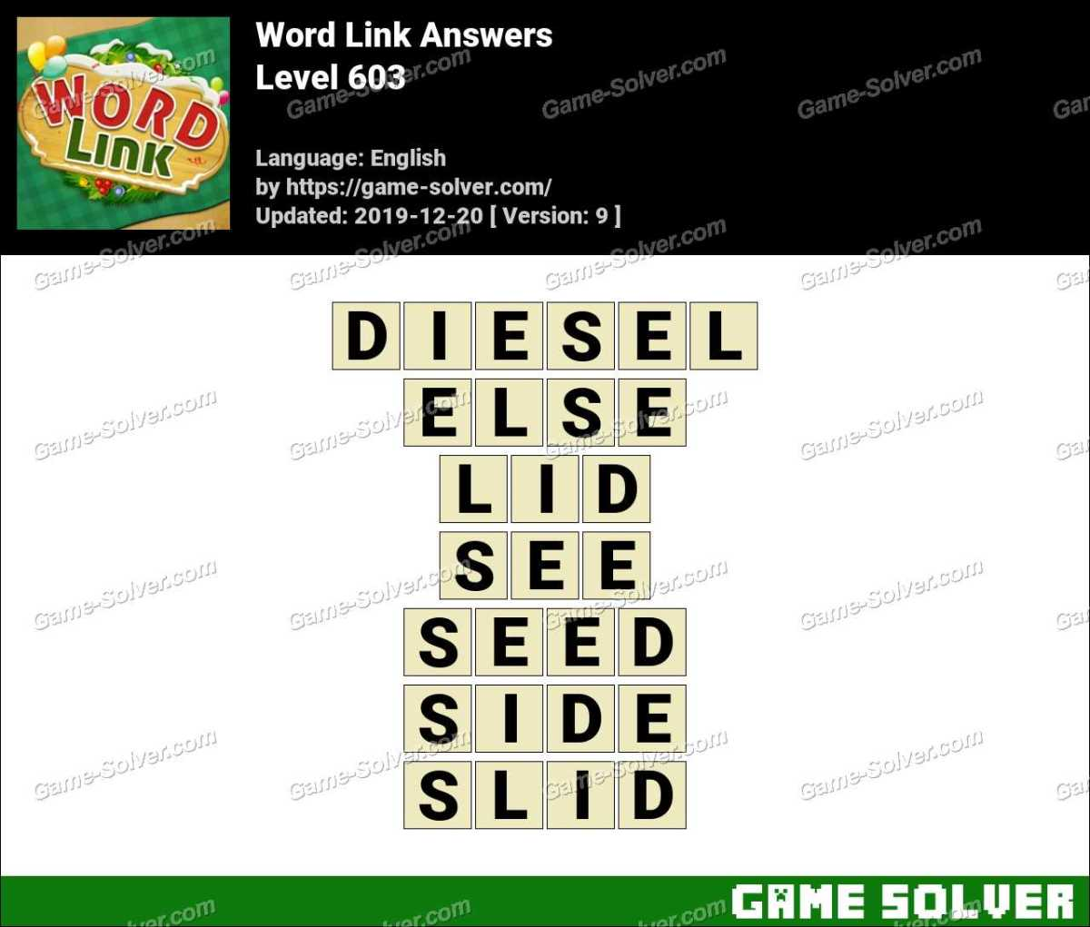 Word Link Level 603 Answers