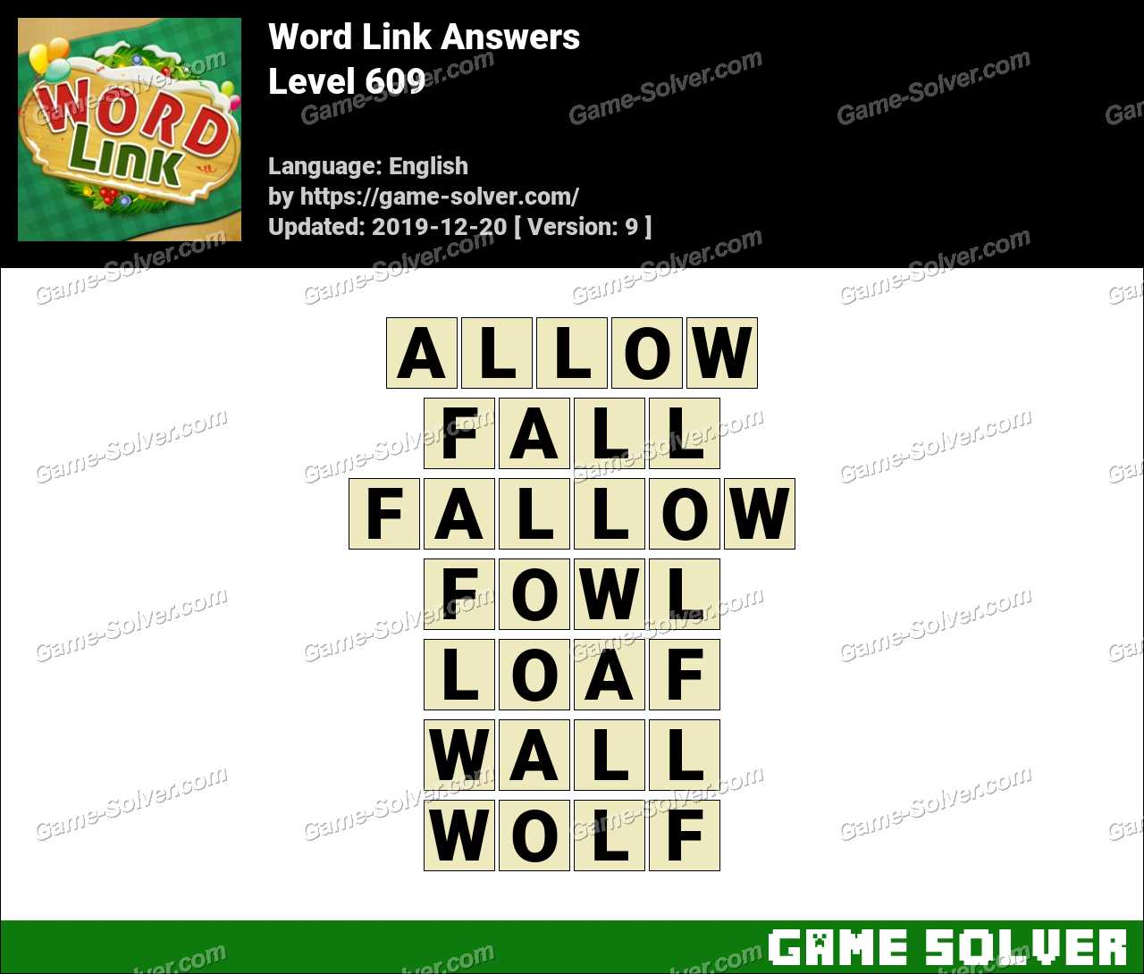 Word Link Level 609 Answers