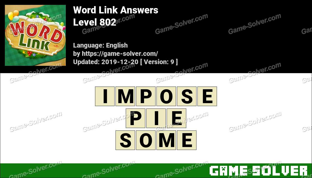 Word Link Level 802 Answers