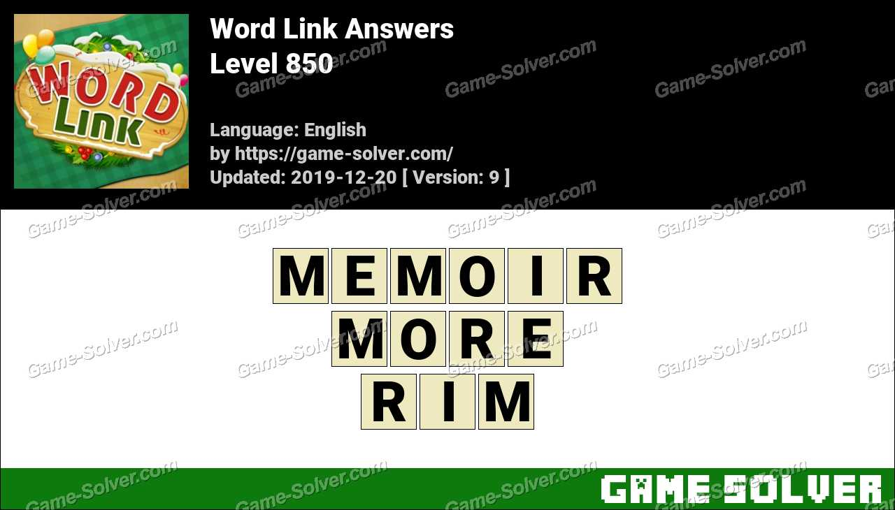 Word Link Level 850 Answers
