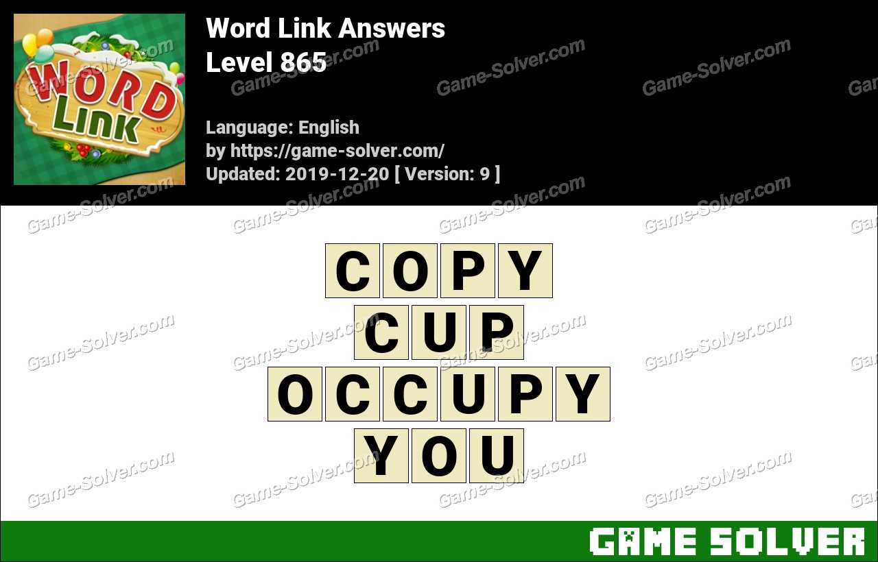 Word Link Level 865 Answers