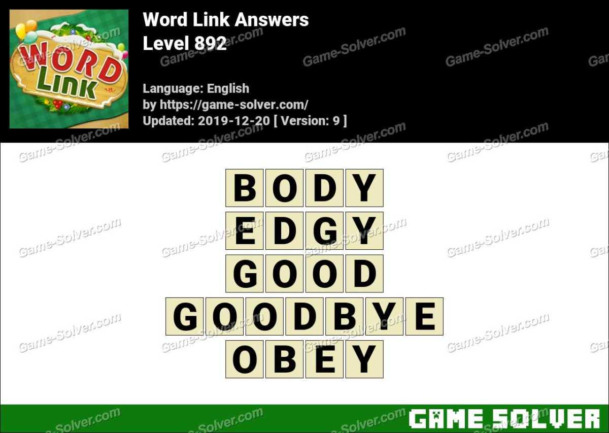 Word Link Level 892 Answers