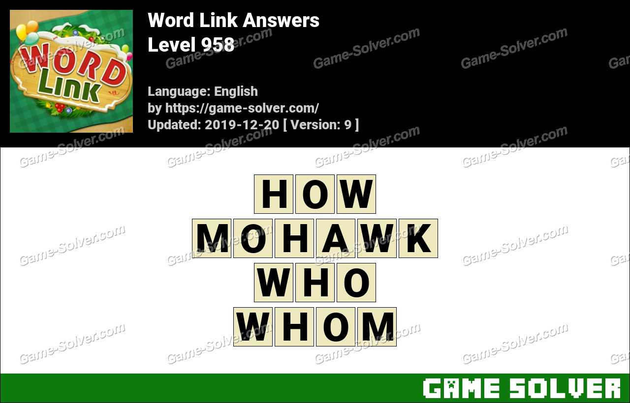 Word Link Level 958 Answers