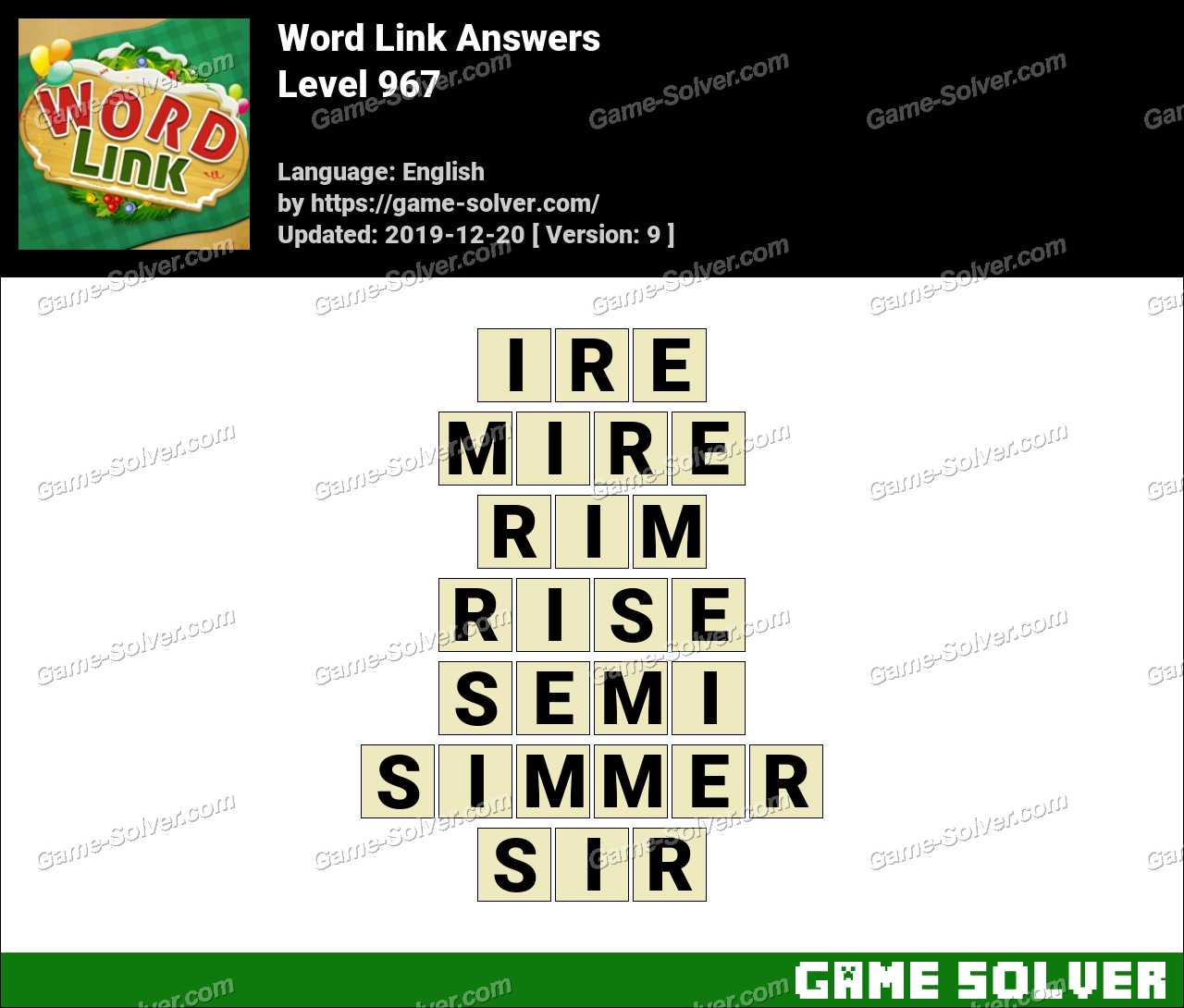 Word Link Level 967 Answers