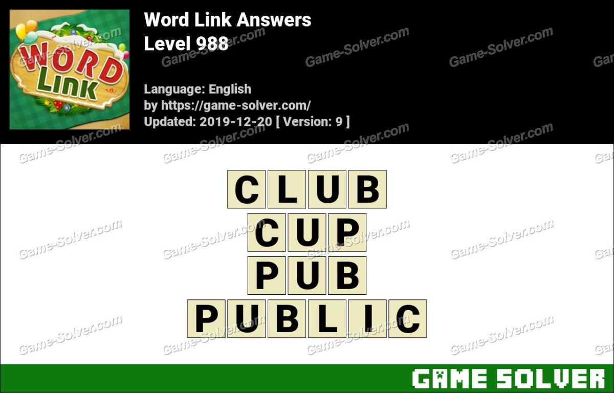 Word Link Level 988 Answers