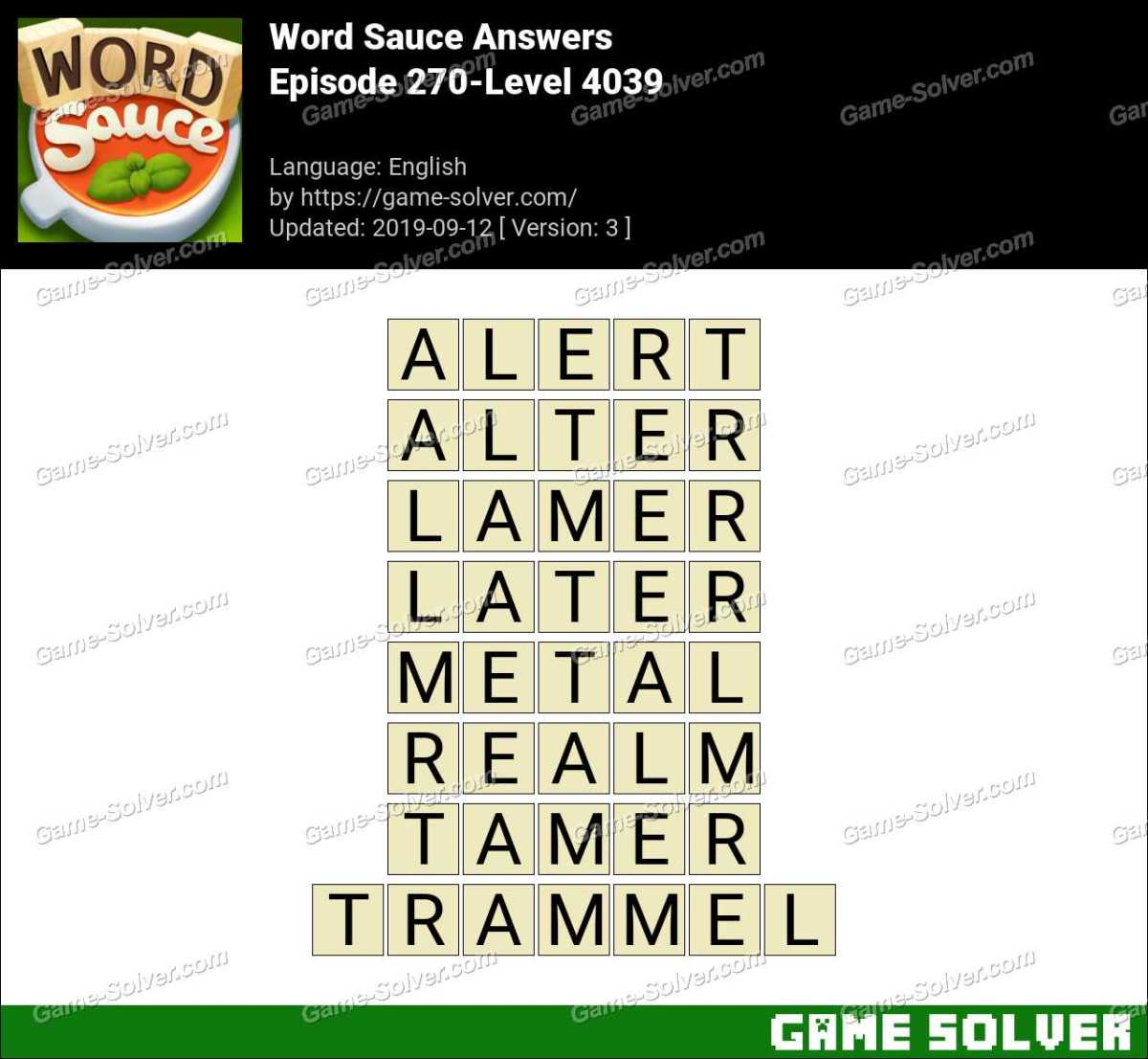 Word Sauce Episode 270-Level 4039 Answers