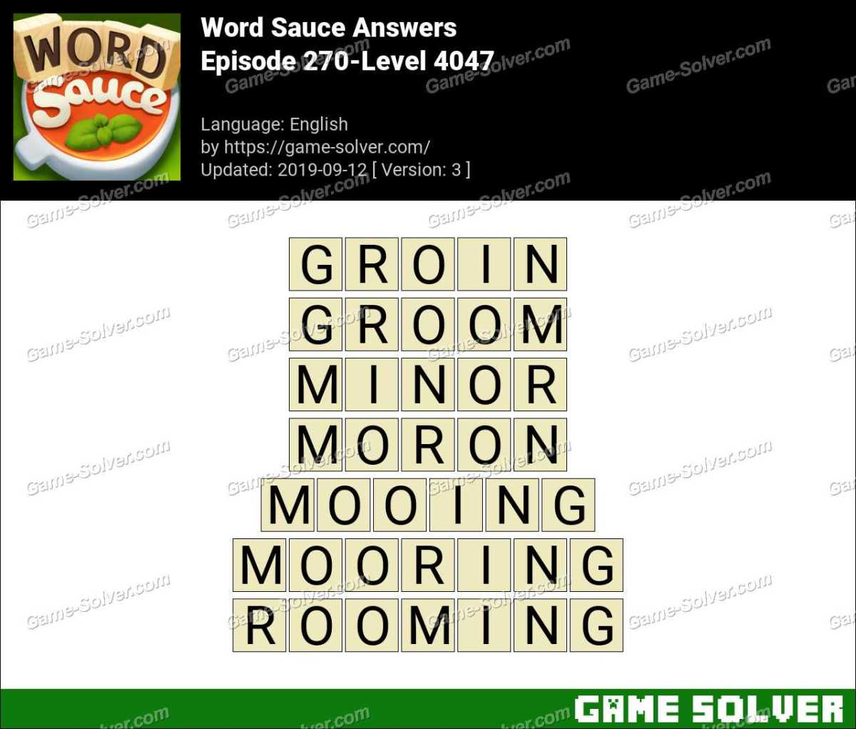 Word Sauce Episode 270-Level 4047 Answers