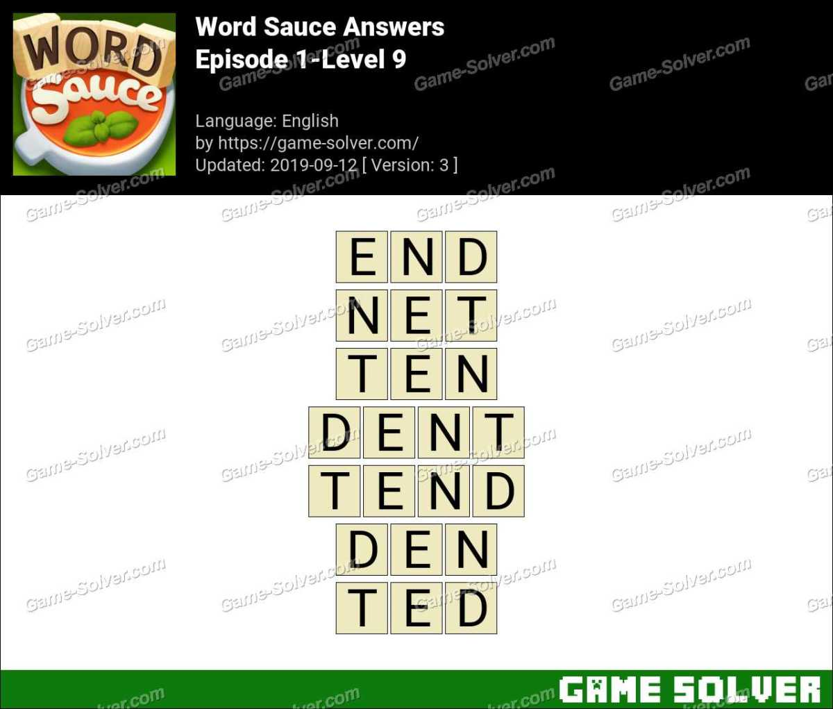 Word Sauce Episode 1-Level 9 Answers