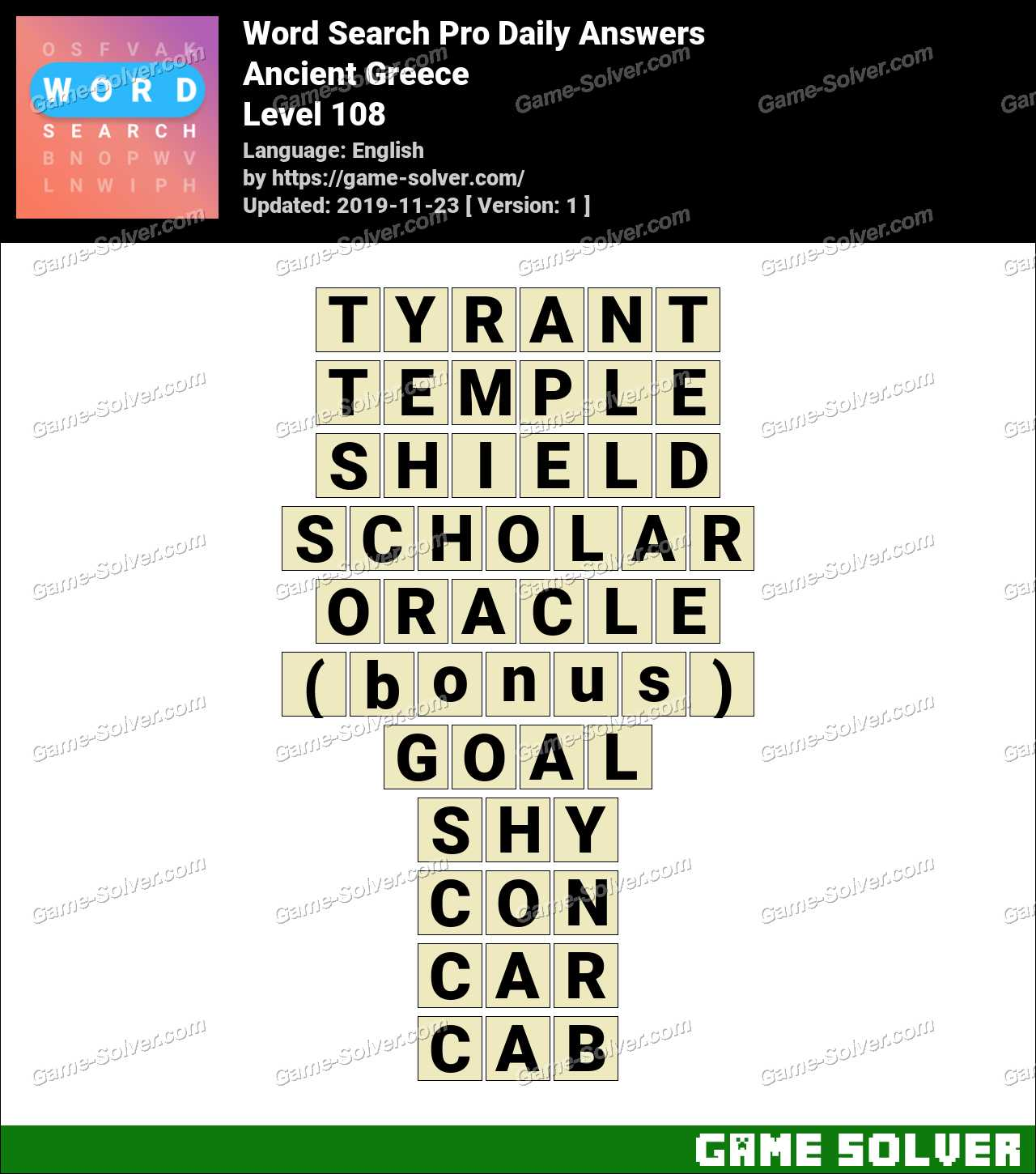 Ancient Greece Word Search Puzzle Key