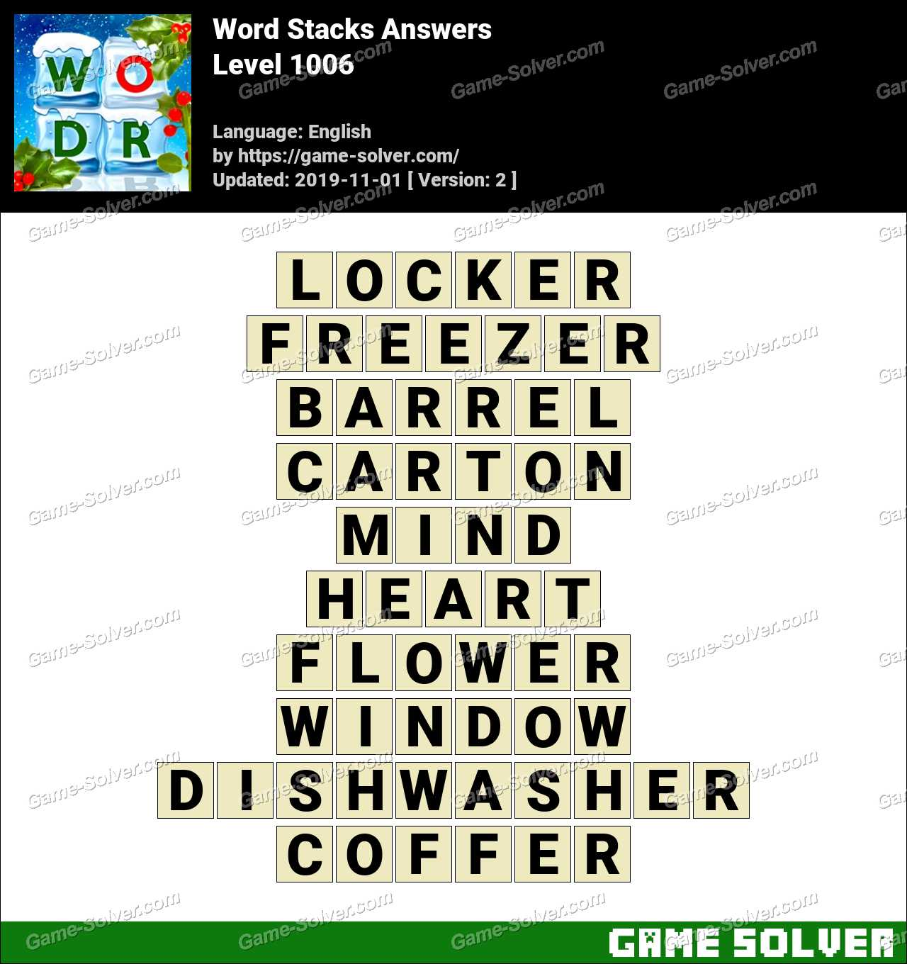 Word Stacks Level 1006 Answers