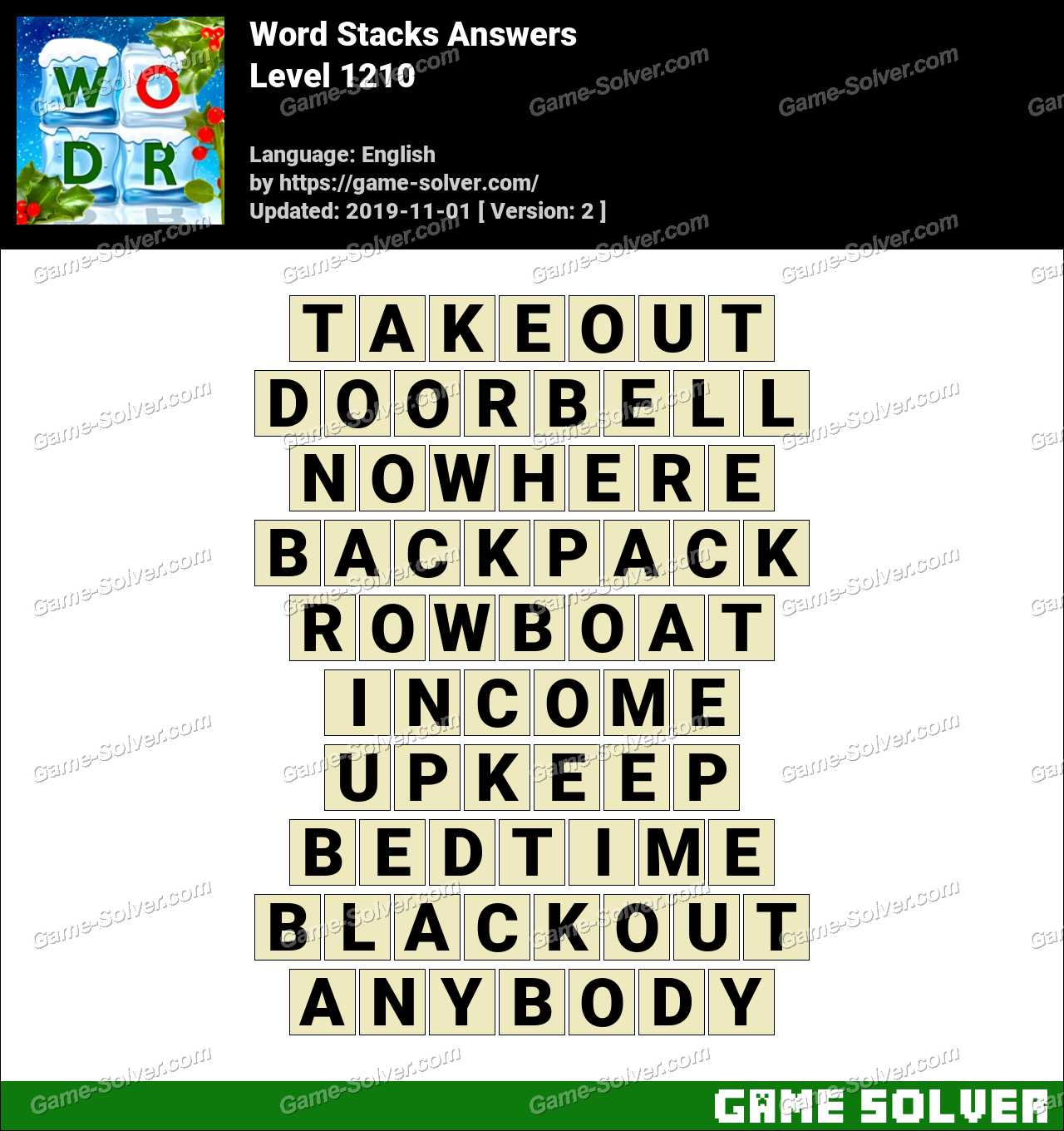 Word Stacks Level 1210 Answers