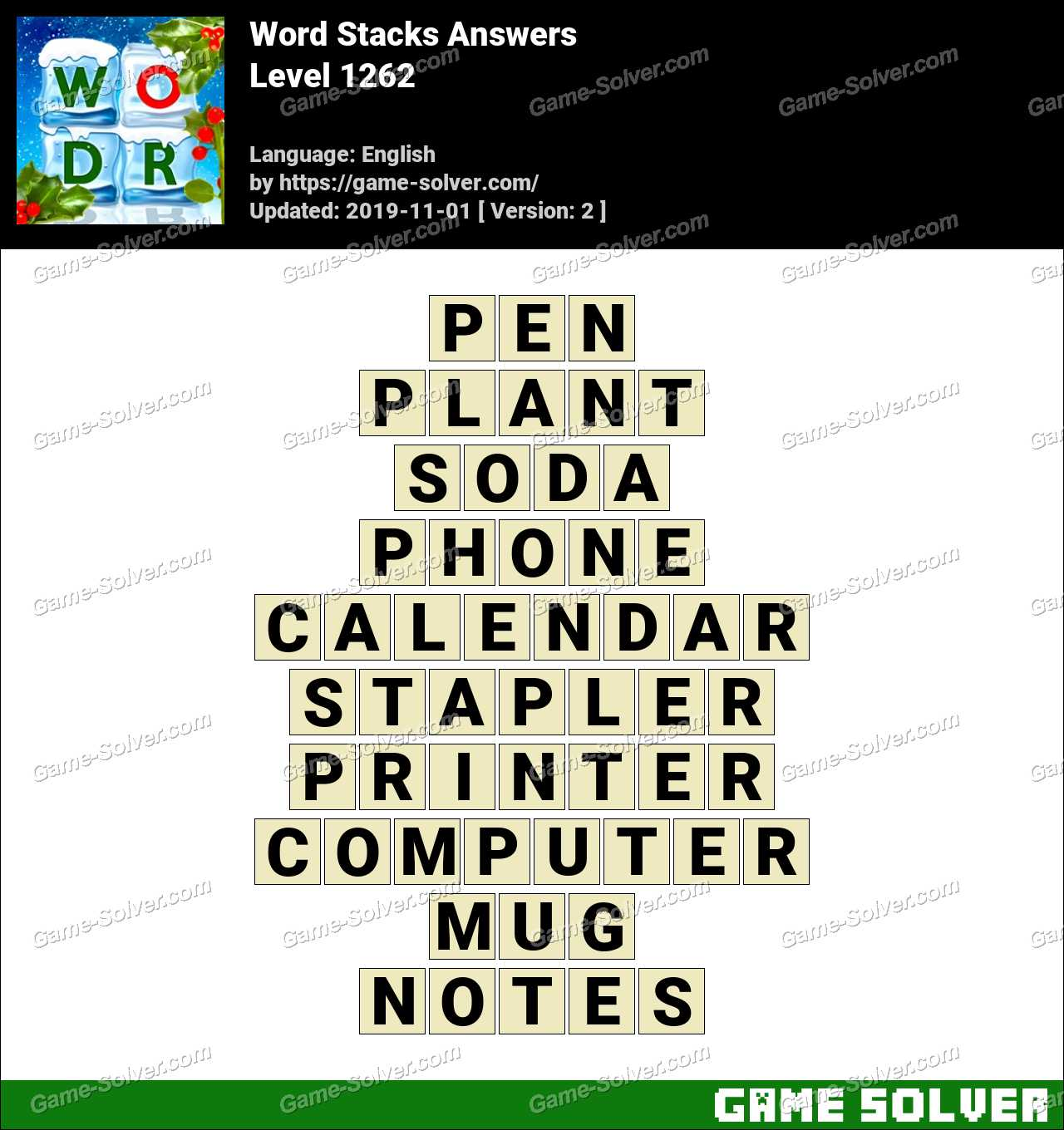 Word Stacks Level 1262 Answers