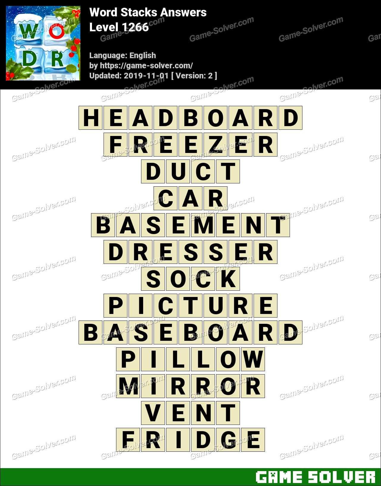 Word Stacks Level 1266 Answers