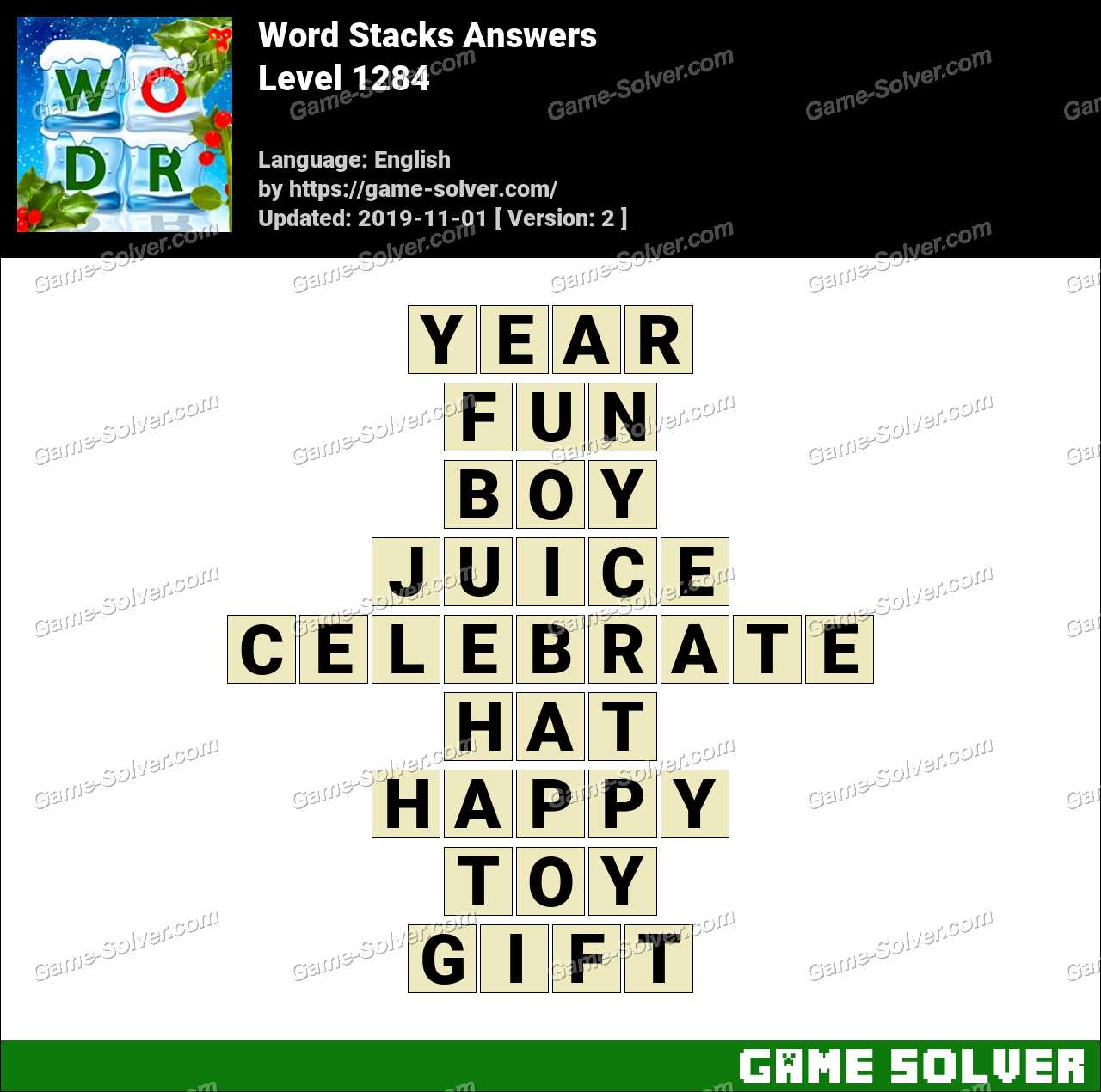 Word Stacks Level 1284 Answers