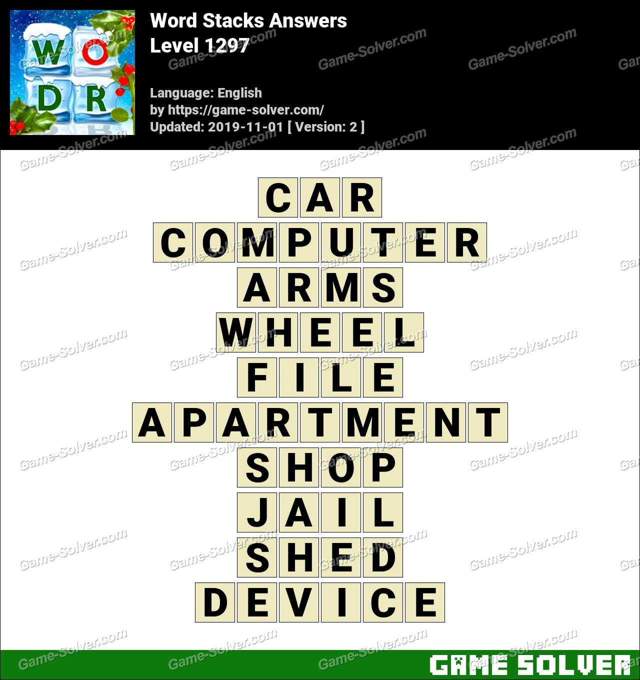 Word Stacks Level 1297 Answers
