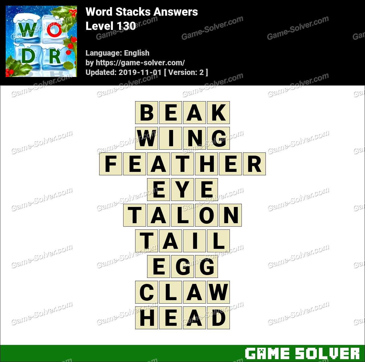 Word Stacks Level 130 Answers