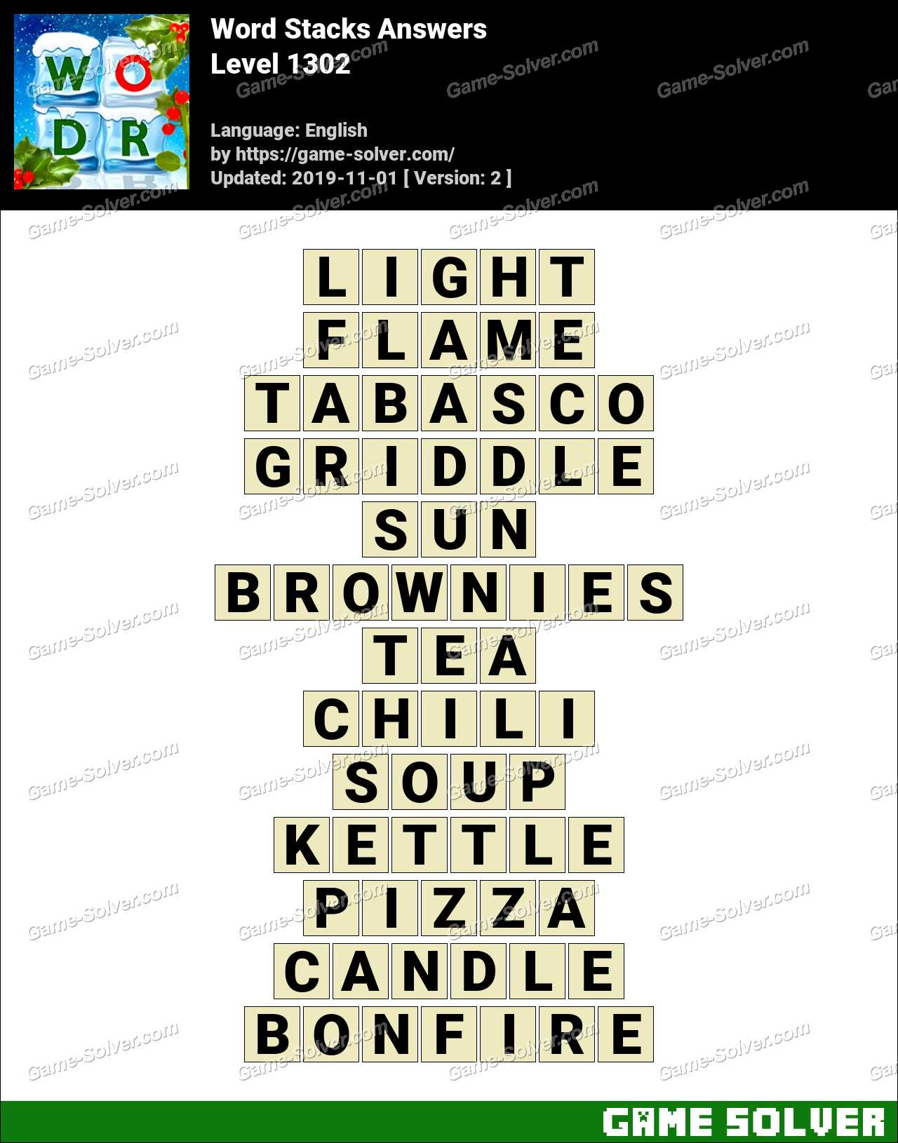 Word Stacks Level 1302 Answers