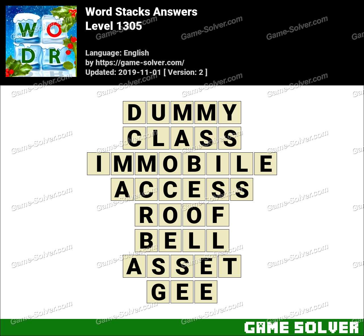 Word Stacks Level 1305 Answers