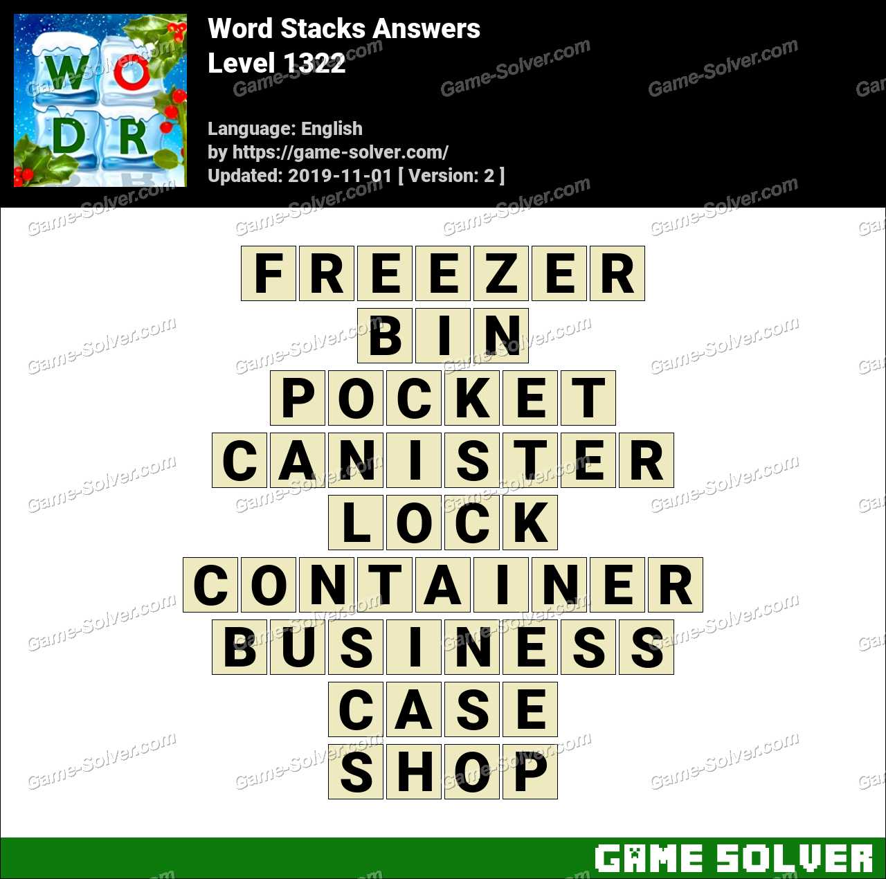 Word Stacks Level 1322 Answers