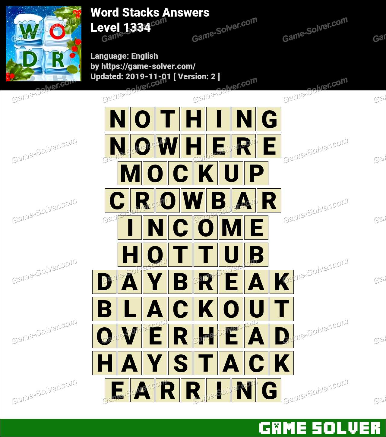Word Stacks Level 1334 Answers