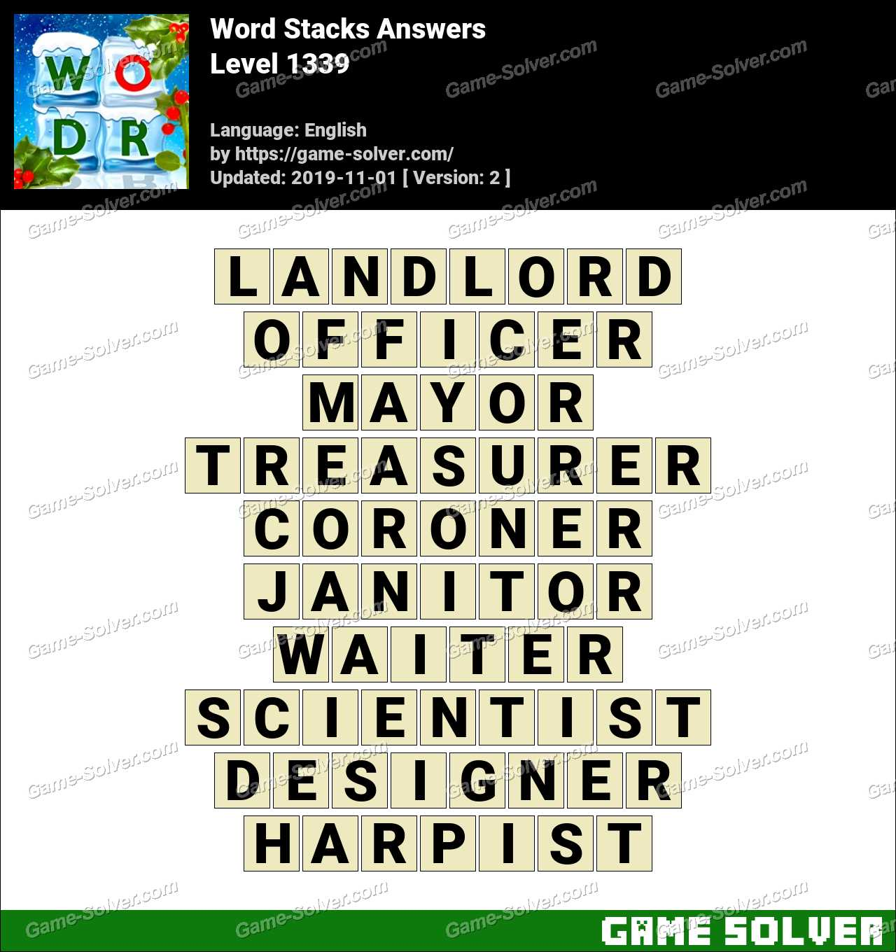Word Stacks Level 1339 Answers