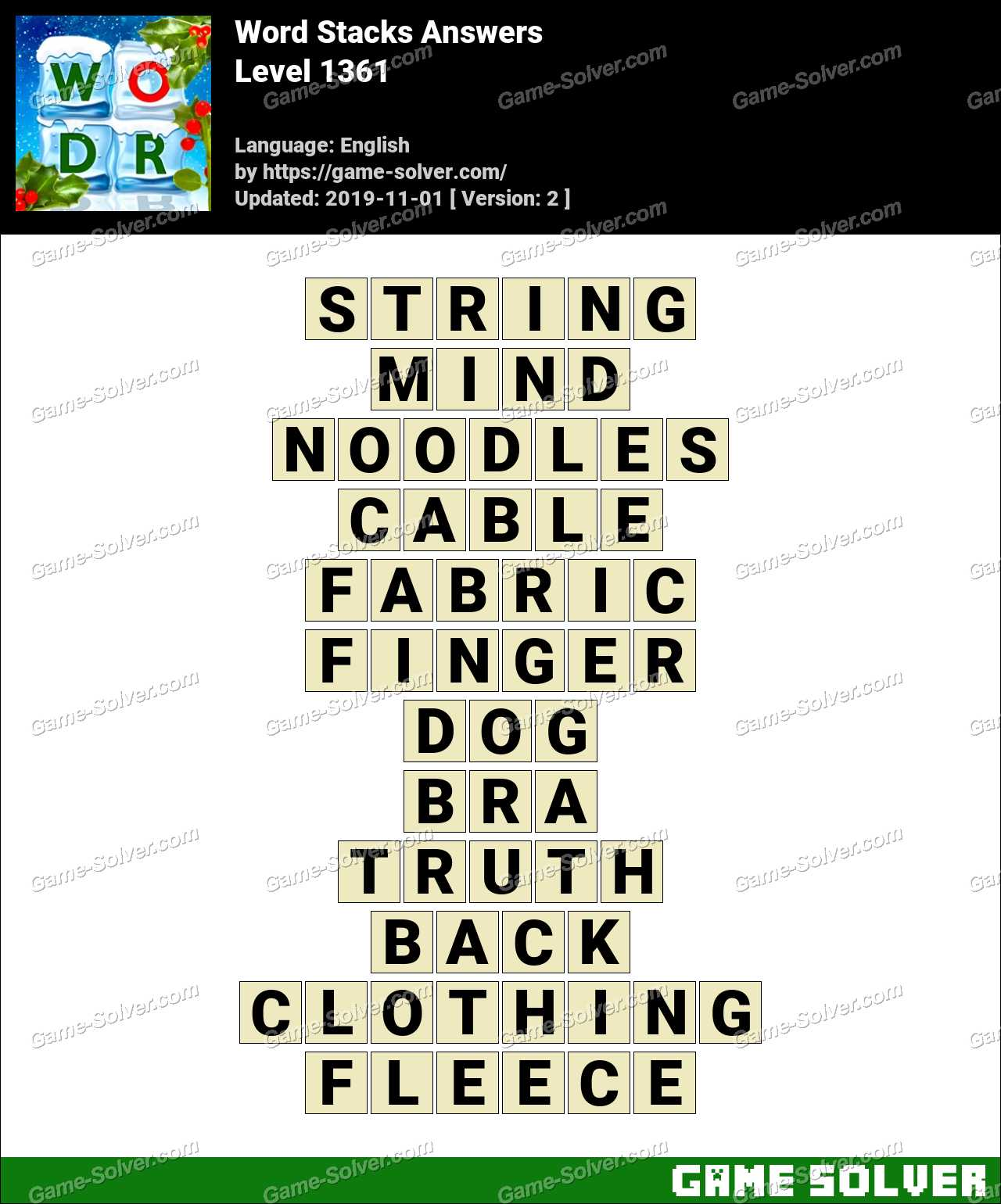 Word Stacks Level 1361 Answers