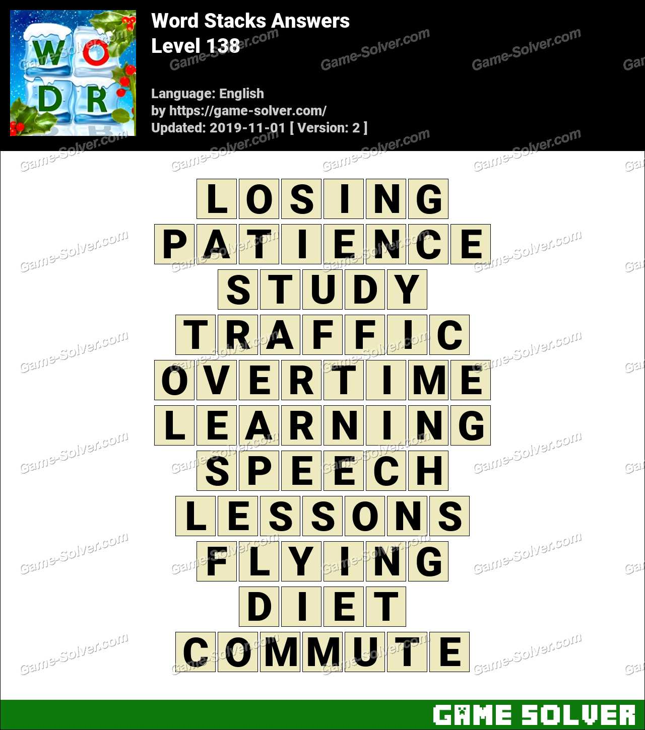 Word Stacks Level 138 Answers