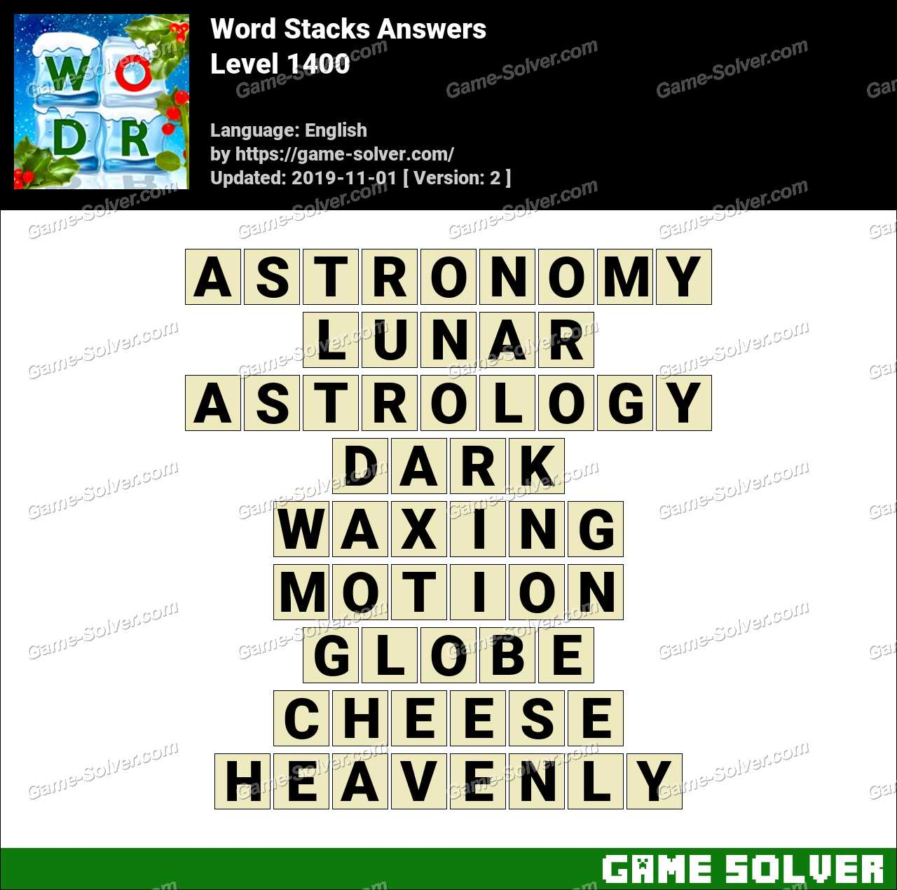 Word Stacks Level 1400 Answers