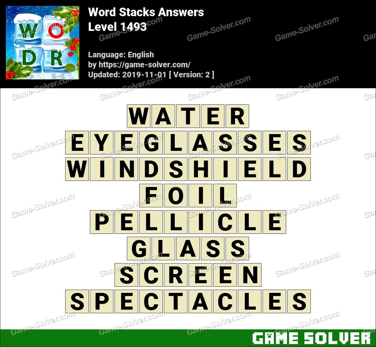 Word Stacks Level 1493 Answers